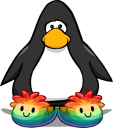 Rainbow Puffle Slippers on a Player Card