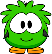 Green Puffle Costume on a Player Card