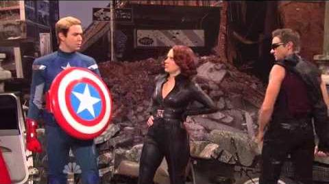 Jeremy Renner as HAWKEYE The Avengers Saturday Night Live Skit part 4 9