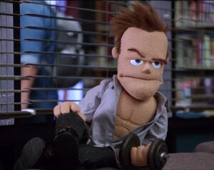 4X9 Puppet Jeff working out