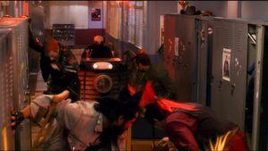 The Locker Boys flee from the Juggernaut
