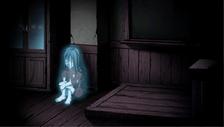 Sachiko sitting in the corner