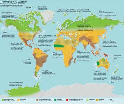 World map 4degrees warmer