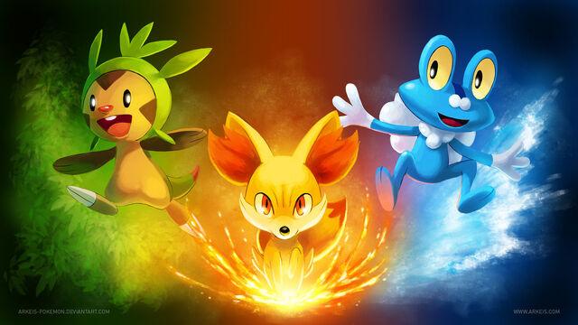 File:Pokemon x y starter wallpaper by arkeis pokemon.jpg