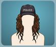 Police Cap Curly