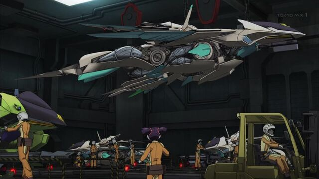 File:Cross Ange ep 02 Glaive flight mode in the hangar.jpg