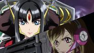 Cross Ange ep 23 Salamandinay and Ange in a war