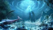 Crysis-concept-art-alien-ship-generating-the-ice-sphere