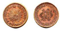10 centavos del Estado de Chihuahua de 1915 (cobre)(anverso y reverso)