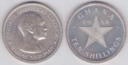 Ghanaian 10 shilling coin 1958