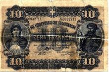 Swiss Federal Treasury 10 franken 1914 o