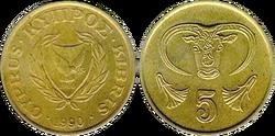 Cyprus 5 cents 1990