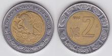 Mexico 2 nuevos pesos 1995