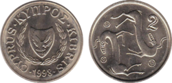 Cyprus 2 cents 1998