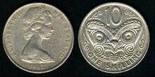 New Zealand 10 cents 1967
