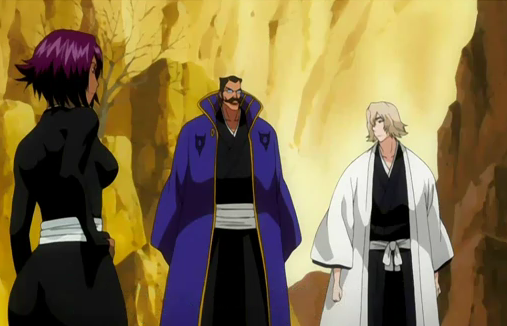 File:Yoruichi berates Tessai and Urahara.png