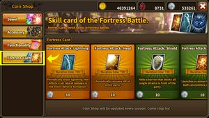 Coin Shop Fortress Cards