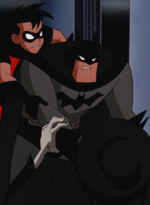 Batman strangles the Scarecrow