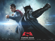 Batman v Superman Dawn of Justice quad poster - Superman facing Batman