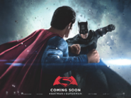 Batman v Superman Dawn of Justice quad poster - Batman facing Superman