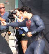 Henry Cavill on set