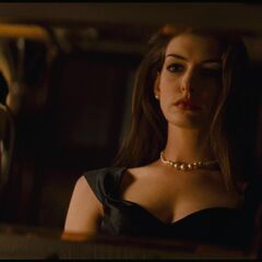 Selina wearing the pearl necklace.