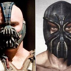 Unused concept art for Bane's mask, compared to the final version.
