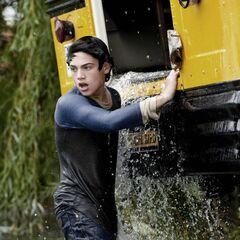 Clark saves the school bus.
