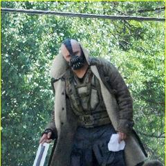 Tom Hardy on set as Bane.