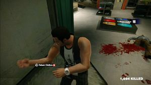 Dead rising in the closet clothing Black and White Sleeveless Sports Top with Black and Grey Shorts