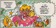 Super Mario Brothers - Princess Peach as she appears in the uper Mario Adventures comics getting angry as she refuses to marry Bowser