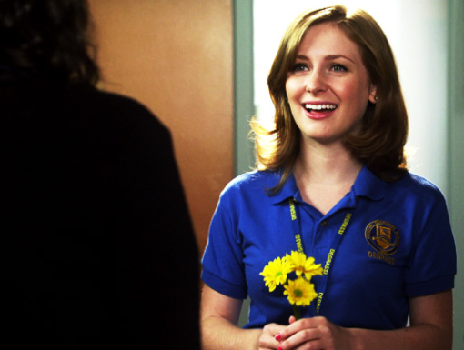 File:Holly J In Her Degrassi Uniform Looking At Fiona With Three Yellow Flowers In Her Hand.jpg