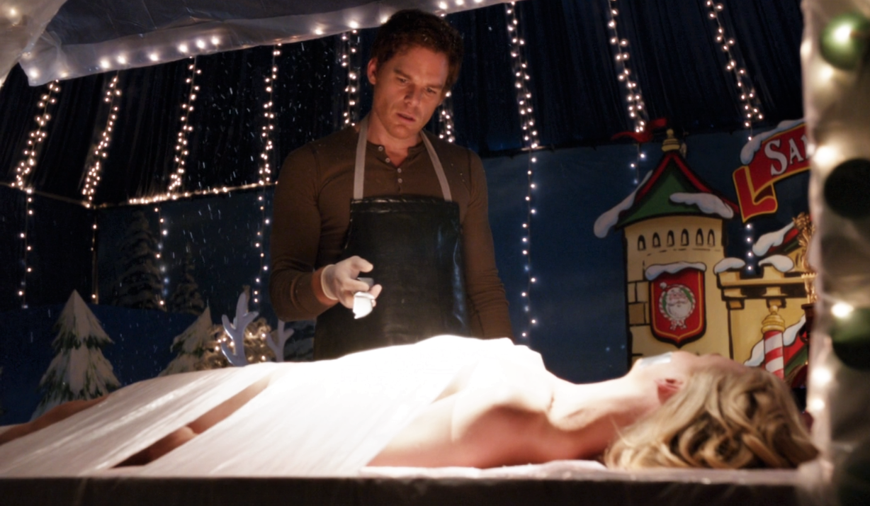 Hannah on Dexter's kill table.