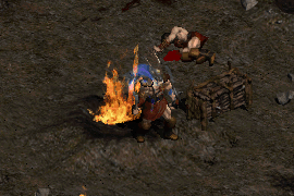 a barbarian wearing an avenger guard, regaining mana while taking damage from a fire