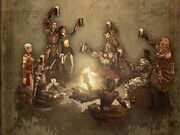 rendering of necromancer and female monk, sorceress and male wizard, Diablo II barbarian and female witch doctor, paladin and female barbarian, and amazon, raising mugs around a campfire