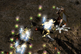 a barbarian with a Holy Shock aura, wearing a jawbone cap and tower shield, surrounded by Confused enemies