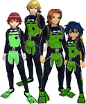 "Marcus Damon, Thomas H. Norstein, Yoshino ""Yoshi"" Fujieda, and Keenan Crier (Green Scuba Suits) dm"