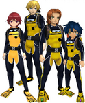 "Marcus Damon, Thomas H. Norstein, Yoshino ""Yoshi"" Fujieda, and Keenan Crier (Yellow Scuba Suits) dm"