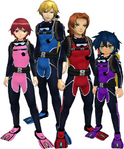 "Marcus Damon, Thomas H. Norstein, Yoshino ""Yoshi"" Fujieda, and Keenan Crier (Scuba Suits) dm"