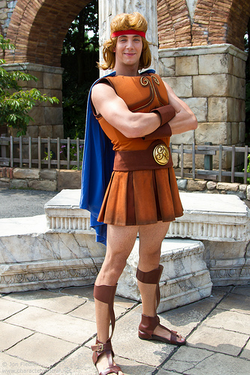Hercules posing for a photo at Tokyo Disneyland