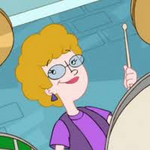 Mrs Johnson playing the Drums