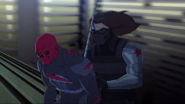 Winter Soldier tying up Red Skull
