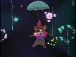 Dormouse parachuting with an umbrella