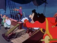 Captain Hook ordering around his pirates