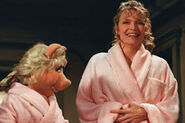 Michelle Pfeiffer and Piggy bathrobes