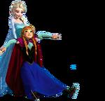 Elsa holding Anna