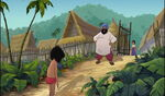 Mowgli is walking back to his father