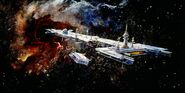U S S Cygnus Concept Art by Peter Ellenshaw 02
