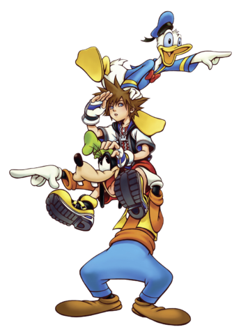 File:Sora, Donald and Goofy (Art) KHI.png