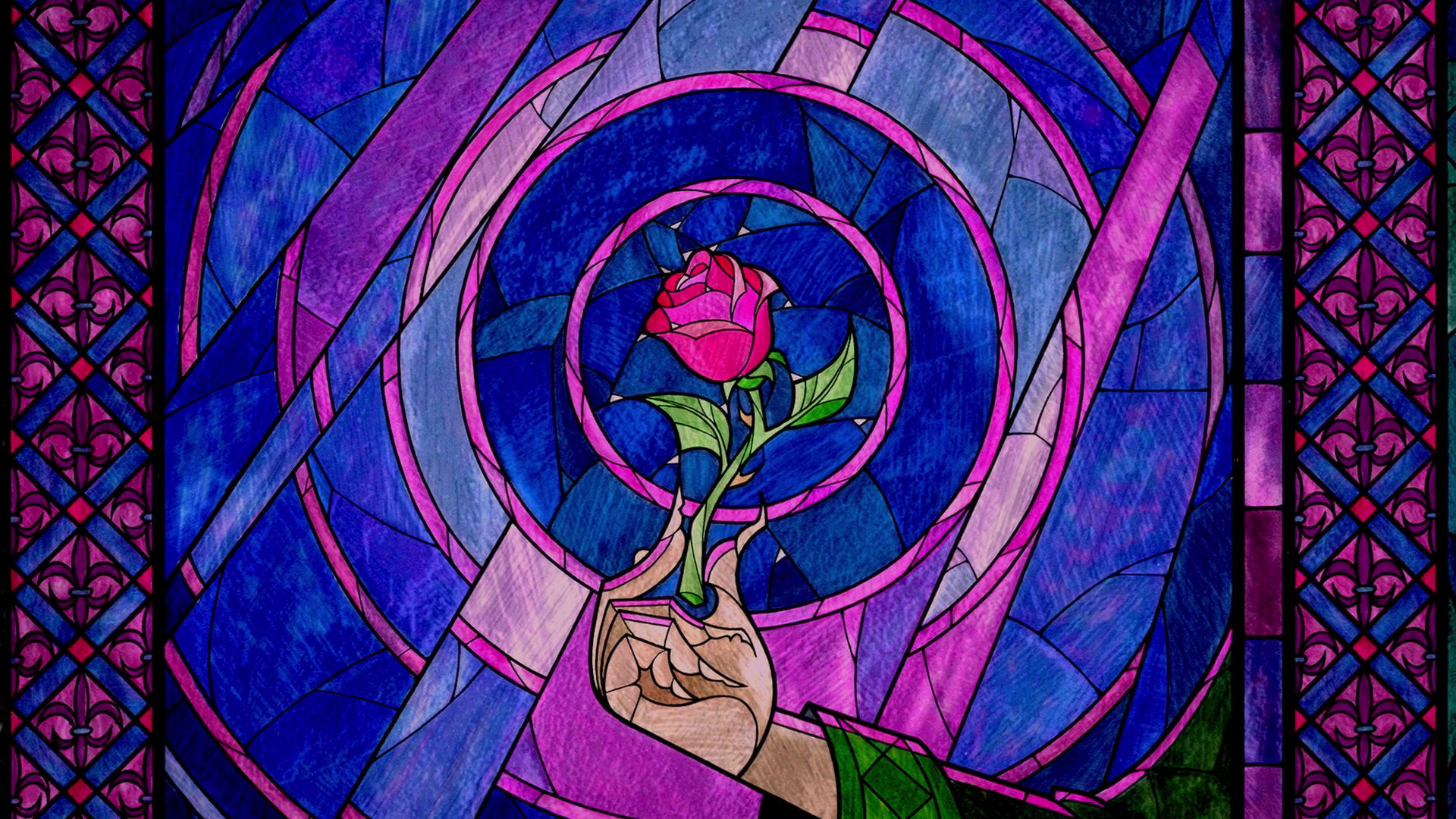 Beauty And The Beast Rose Wallpaper: Image - Enchanted Rose Stained Glass.jpg